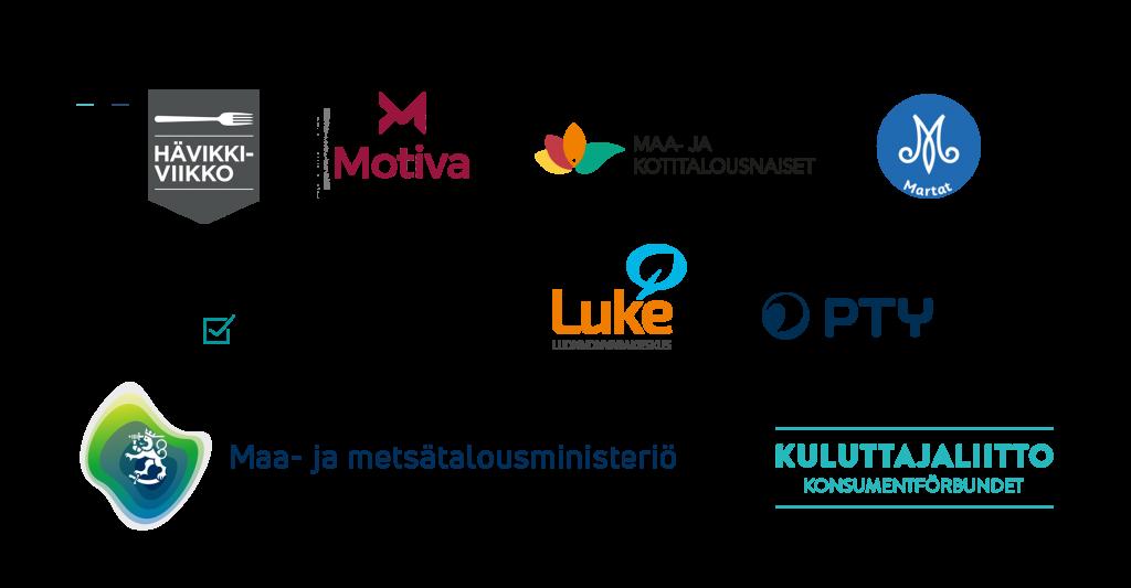 Kuvassa Hävikkifoorumien yhteistyökumppaneiden logot: Hävikkiviikko, Motiva, Maa- ja kotitalousnaiset, Martat, Valintamuotoilijat, Luke, PTY, Maa- ja metsätalousministeriö ja Kuluttajaliitto.